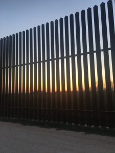 Sunset on the border wall