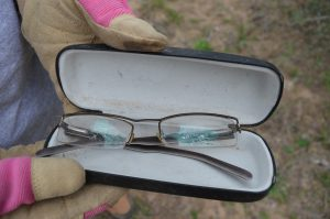 A migrant's eyeglasses left behind.