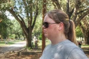 Jessica surveying the scene.