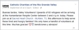 Daily requests for the Humanitarian Respite Center for volunteers