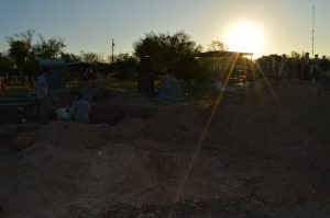 Sun rise at the cemetery