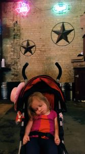 Sweet Eleanor, asleep in her stroller!