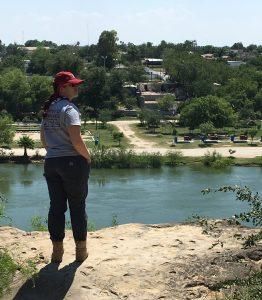 Angela on the rocky overlook
